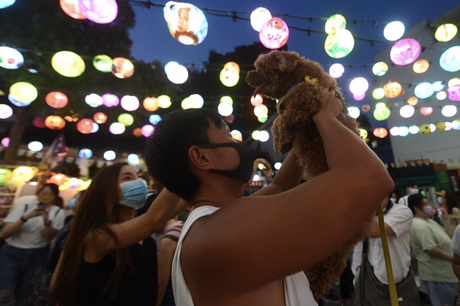 圖為市民與寵物一起感受中秋氣氛。