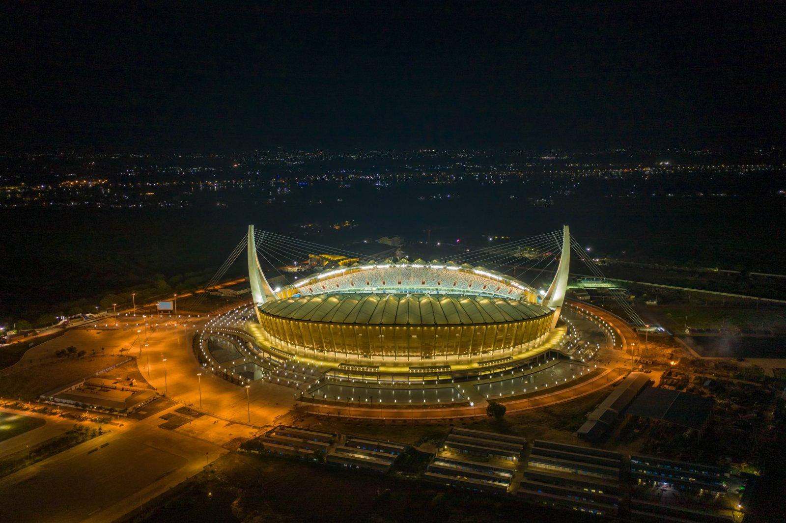 這是9月9日在金邊拍攝的柬埔寨國家體育場(航拍照片)。新華社
