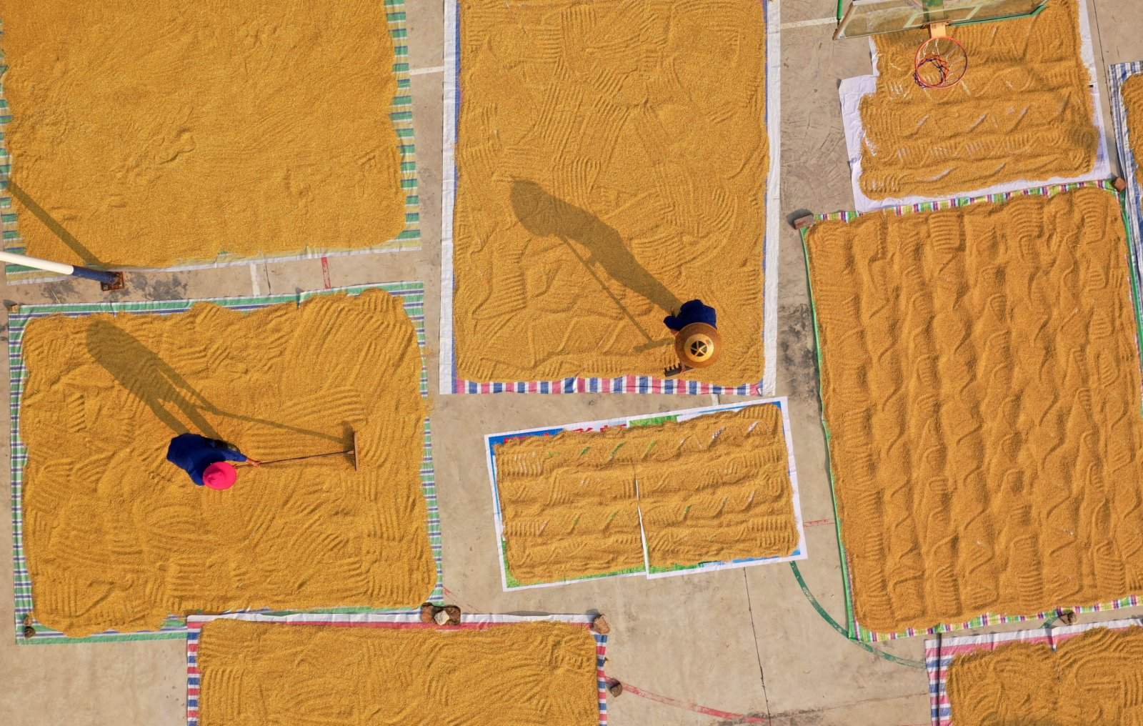 9月14日,在三江侗族自治縣同樂苗族鄉高武村,村民晾曬稻穀。