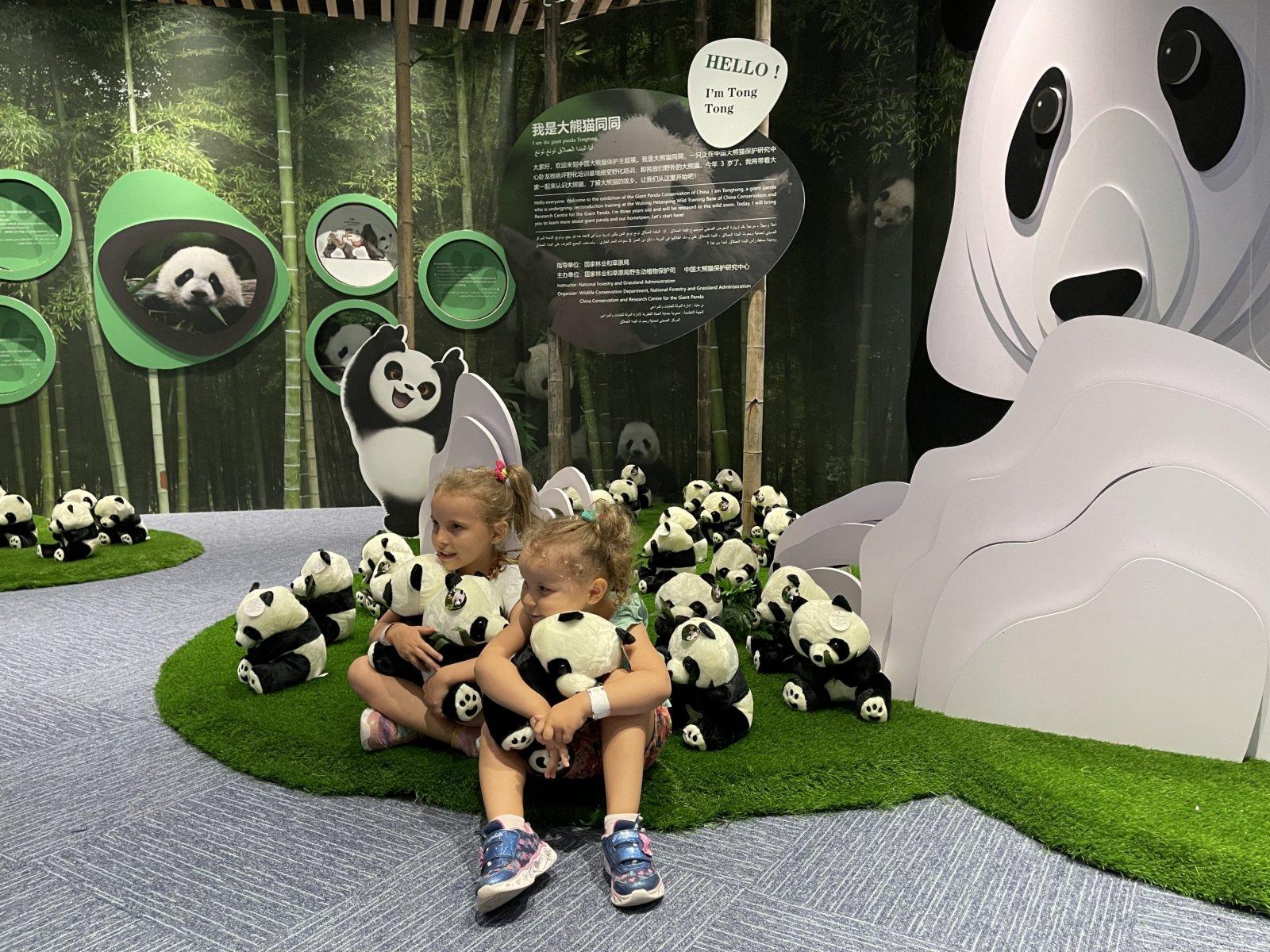 10月4日,在阿拉伯聯合酋長國迪拜,兩名兒童在迪拜世博會中國館的大熊貓保護主題展廳裡與熊貓玩偶合影。